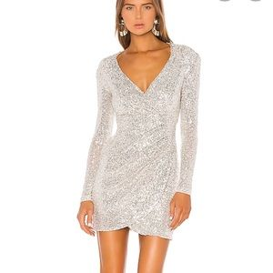Nookie Fantasy Long Sleeved Dress in Silver